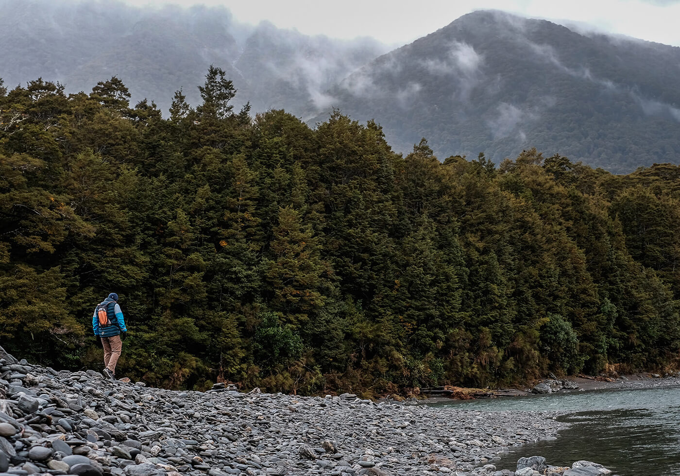 Collecting samples in the mountains New Zealand